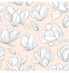 seamless pattern with blooming magnolia flowers vector image