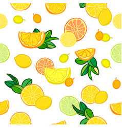 Seamless pattern with lemons limes vector