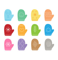 Set colorful mittens in flat style vector