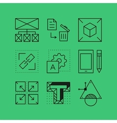 Set of line icons in the flat style vector
