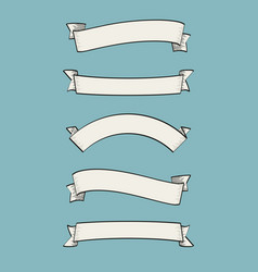 set old vintage ribbon banners and drawing in e vector image