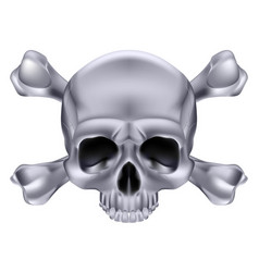 Silver skull and crossbones on white background vector
