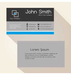 simple gray and blue stripes business card design vector image