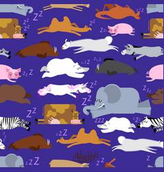 sleeping animals seamless pattern seal and deer vector image