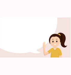 Smiling girl with empty block waving hello vector