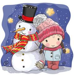 Snowman and cute cartoon girl vector