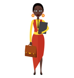 Spectacled african american business woman flat vector