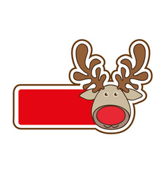 sticker with banner with face reindeer christmas vector image