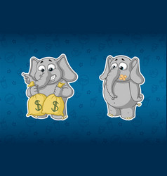 Stickers elephantsholds bags of money much money vector