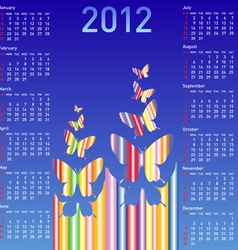 stylish calendar with butterflies for 2012week st vector image