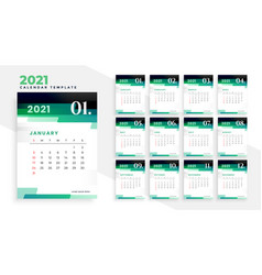 Stylish green modern new year 2021 calendar vector