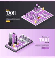 Taxi city navigation banners vector