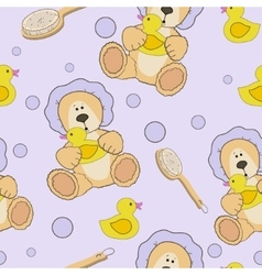 Teddy bear bath time seamless pattern vector