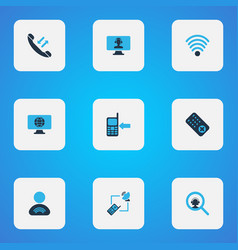 telecommunication icons colored set with call back vector image