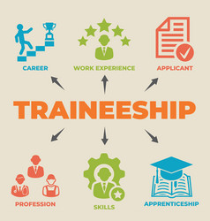 Traineeship concept with icons and signs vector