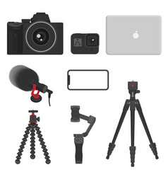vlog equipment camera action cam laptop mic vector image