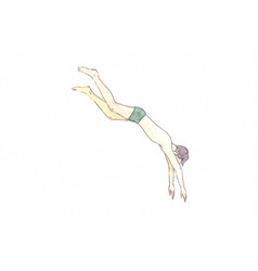 Watercolor hand-drawn jumping man in swimsuit vector