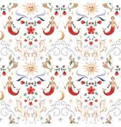 Watercolor pattern medieval vector