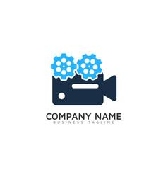 wheel video logo icon design vector image