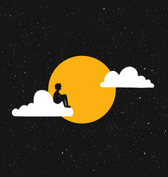 With young man black silhouette sitting alone vector
