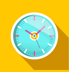 clock icon with long shadow on yellow background vector image vector image