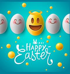 happy easter easter emoji eggs vector image