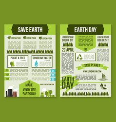 save planet and earth day poster template set vector image