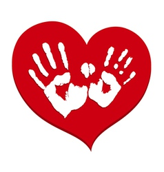 Two white handprints on a red heart vector image
