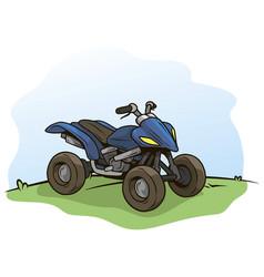 cartoon blue modern offroad quad motorbike vector image