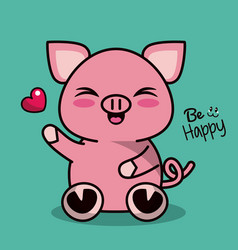 color background with cute kawaii animal pig vector image vector image