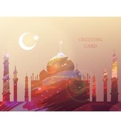 Eid al-fitr Greeting card Watercolor mosque vector image