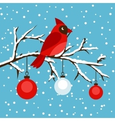 Happy holidays greeting card with bird red vector image vector image