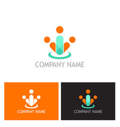 people group abstract logo vector image