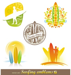 surfing emblems labels vector image vector image