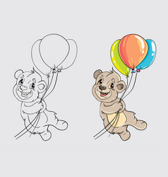 bear with balloons for coloring the book vector image vector image