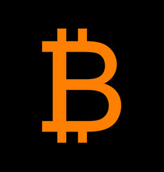bitcoin sign orange icon on black background old vector image vector image