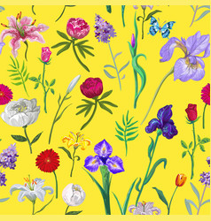 bright seamless floral pattern on yellow vector image vector image