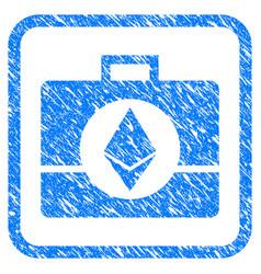 Ethereum crystal case framed stamp vector