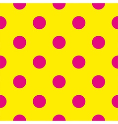 Pink polka dots on yellow background tile pattern vector image