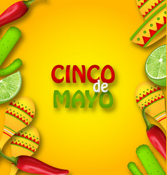 cinco de mayo background with mexican traditional vector image vector image