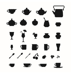 Collection of cups teapots and other items vector image