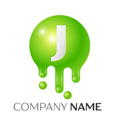 j letter splash green dots and bubbles letter vector image vector image