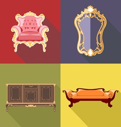 Living room home decoration icon set flat style Di vector image vector image