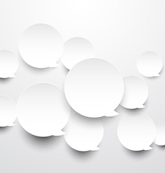 Paper white round speech bubbles vector image vector image