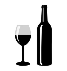 wine bottle with wine glass icon vector image