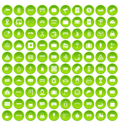 100 railway icons set green vector