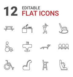 12 chair icons vector