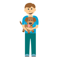 a boy with a cute puppy on a walk vector image