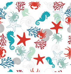 Abstract pattern with sea horse vector