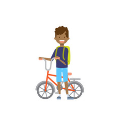 african boy hold bicycle on white background vector image